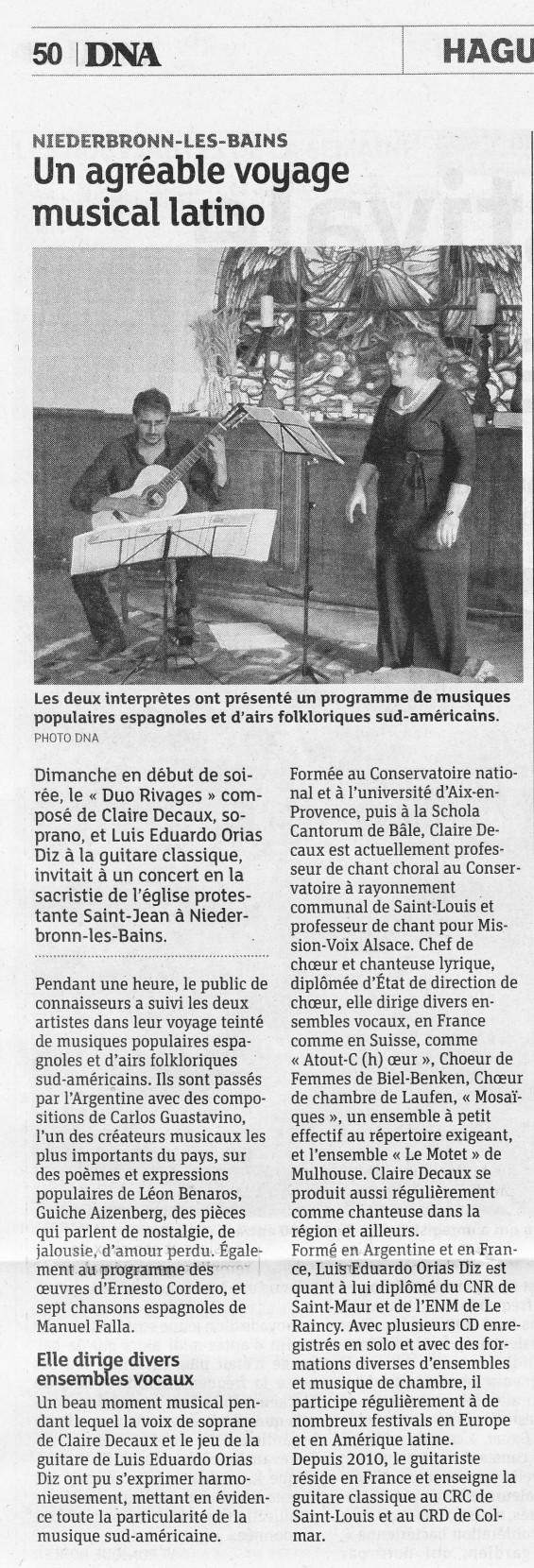 Duo Rivages, chant et guitare avec Claire Decaux et Luis Orias Diz